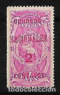 GUATEMALA 1898 SELLO FISCAL CON SOBRECARGA CORREOS NACIONALES EN ROJO (Sellos - Extranjero - América - Guatemala)
