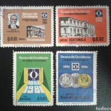 Selos: GUATEMALA. YVERT A-749/52. SERIE COMPLETA USADA. BANCO DE OCCIDENTE. Lote 114055627