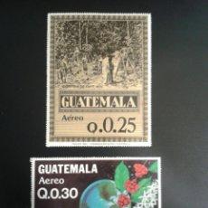 Sellos: GUATEMALA. YVERT A-792A/B. SERIE COMPLETA NUEVA SIN CHARNELA. ALGUNAS MANCHAS DEL TIEMPO. CAFÉ.. Lote 117785110