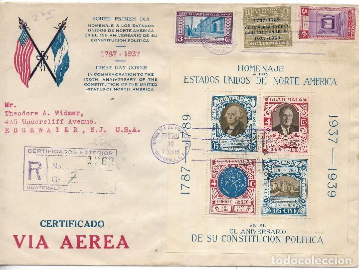 GUATEMALA. SOBRE CIRCULADO A ESTADOS UNIDOS CON SELLOS Y HOJA BLOQUE DE GUATEMALA (Sellos - Extranjero - América - Guatemala)