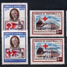 Sellos: GUATEMALA AÑO 1960 YV AEREO 253/60*** AÑO MUNDIAL DEL REFUGIADO - PERSONAJES - CRUZ ROJA - MEDICINA. Lote 140772566