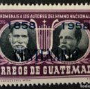 Sellos: SELLO NUEVO CLÁSICO DE GUATEMALA 1/2 C- HOMENAJE A LOS AUTORES DEL HIMNO NACIONAL (AZUL). Lote 156170528