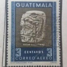Sellos: AEREO GUATEMALA, 3 CENTS, HACHA CEREMONIAL, 1953. SIN USAR. Lote 180267758