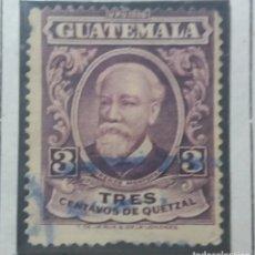 Sellos: GUATEMALA, 3 CENTS, LORENZO MONTUFAR,1940. SIN USAR,. Lote 180271445