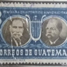 Sellos: GUATEMALA, 3 CENTS, AUTORES IMNO NACIONAL,1953. SIN USAR,. Lote 180271835