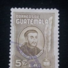 Sellos: GUATEMALA, 5 CENTS, FRAY ENRIQUE RIVERA, 1950. SIN USAR. Lote 180274078