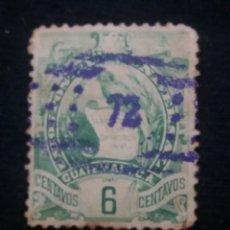 Sellos: GUATEMALA, 6 CENTS, GUACAMAYO, 1886. . Lote 180274691
