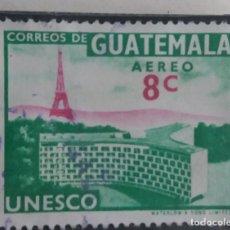 Sellos: AEREO GUATEMALA, 8 CENTS, UNESCO, 1956. SIN USAR.. Lote 180274873