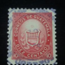 Sellos: GUATEMALA, 10 CENTS, ESCUDE DE ARMAS, 1878. . Lote 180275083