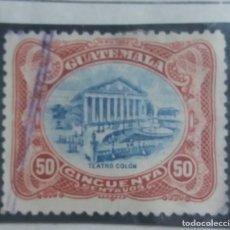 Sellos: GUATEMALA, 50 CENTAVOS, TEATRO COLON, 1909. . Lote 180411938
