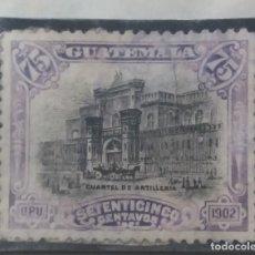 Sellos: GUATEMALA, 75 CENTAVOS, CUARTEL DE ARTILLERIA, 1921. . Lote 180412170