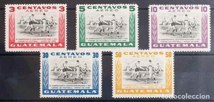 Sellos: Guatemala, Aéreo. MH *Yv 160/64. 1948. Serie completa. MAGNIFICA. Yvert 2013: 50 Euros. REF: 43036 - Foto 1 - 183124272