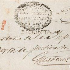 Sellos: GUATEMALA, PREFILATELIA. SOBRE YV . (1820CA). FRENTE DE PLICA JUDICIAL DE ESCUINTLA A GUATEMALA. MA. Lote 183145707