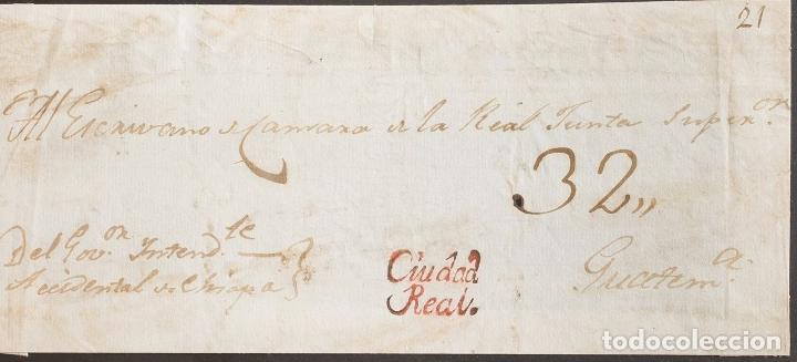 GUATEMALA, COLONIAL. SOBRE YV . (1803CA). FRENTE DE PLICA JUDICIAL DE CIUDAD REAL A GUATEMALA. MARC (Sellos - Extranjero - América - Guatemala)