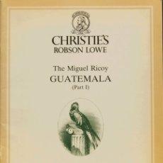 Sellos: GUATEMALA, BIBLIOGRAFÍA. 1986. CATÁLOGO DE LA COLECCIÓN THE MIGUEL RICOY GUATEMALA (PART I), CELEBR. Lote 183160411