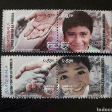 Sellos: GUATEMALA YVERT 548/51 SERIE COMPLETA NUEVA ***. AMÉRICA UPAEP. LUCHA CONTRA LA POBREZA. NIÑOS MANOS. Lote 207009057