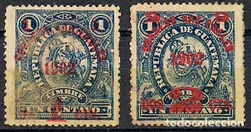 GUATEMALA Nº 108/9 (AÑO 1902), SELLO FISCAL DE 1897 SOBRECARGADO CORREOS NACIONALES 1902, NUEVO * (Sellos - Extranjero - América - Guatemala)