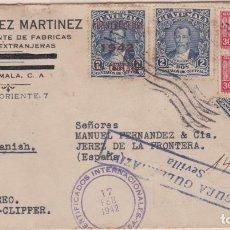 Sellos: CARTA DE GUATEMALA A JEREZ, CON RARO FRANQUEO Y MARCAS DE CENSURA.. Lote 220669895