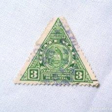 Sellos: ANTIGUO SELLO POSTAL GUATEMALA 1929,3 CENTAVOS DE QUETZAL ESCUDO DE ARMAS, USADO. Lote 225548067