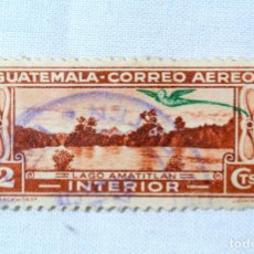 Sellos: ANTIGUO SELLO POSTAL GUATEMALA 1935, 2 CENTAVOS , LAGO AMATITLÁN, USADO. Lote 225753960