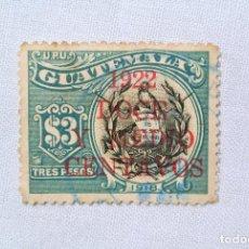 Sellos: ANTIGUO SELLO POSTAL GUATEMALA 1922, 12 1/2 CENTAVOS ,ESCUDO DE ARMAS OVERPRINT ROJO , USADO. Lote 225800480
