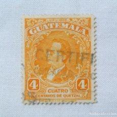 Sellos: ANTIGUO SELLO POSTAL GUATEMALA 1929, 4 CENTAVOS DE QUETZAL, MIGUEL GARCIA GRANADOS, USADO. Lote 225827415