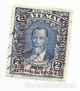 SELLO USADO DE GUATEMALA DE 1929- JUSTO RUFINO BARRIOS- YVERT 233- VALOR 2 CENTAVOS-REVALORIZADO (Sellos - Extranjero - América - Guatemala)