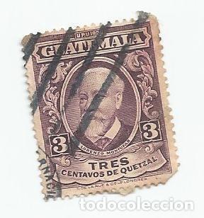 SELLO USADO DE GUATEMALA DE 1929- LORENZO MONTUFAR Y RIVERA- YVERT 234- VALOR 3 CENTAVOS- (Sellos - Extranjero - América - Guatemala)