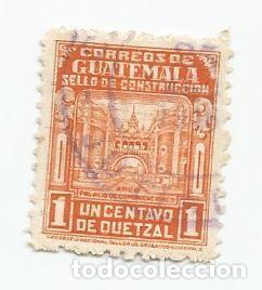 LOTE DE 2 SELLOS USADOS DE GUATEMALA DE 1945-SELLO DE CONSTRUCCION- YVERT 323- VALOR 1 CENTAVO (Sellos - Extranjero - América - Guatemala)