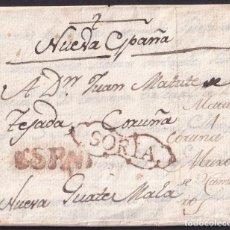 Sellos: 1799. MURO DE CAMEROS A NUEVA GUATEMALA. MARCA SORIA Nº20 Y ESPAÑA Nº26. MNS. NUEVA ESPAÑA. PRECIOSA. Lote 243327740