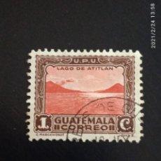 Sellos: GUATEMALA 1 CENTAVO, LAGO ATITLAN, AÑO 1935 USADO.. Lote 245460445