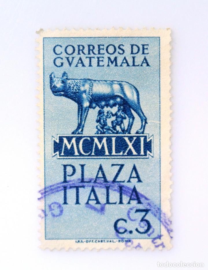 ANTIGUO SELLO POSTAL GUATEMALA 1961, 3 CENTAVO, ESTATUA LOBA RÓMULO Y REMO, ROMA ,PLAZA ITALIA (Sellos - Extranjero - América - Guatemala)