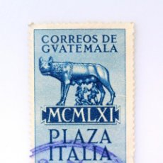 Sellos: ANTIGUO SELLO POSTAL GUATEMALA 1961, 3 CENTAVO, ESTATUA LOBA RÓMULO Y REMO, ROMA ,PLAZA ITALIA. Lote 250236880