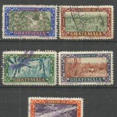 Sellos: GUATEMALA YVERT NUM. 343/347 SERIE COMPLETA USADA. Lote 267160734