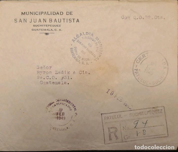 O) 1949 GUATEMALA, FRANQUICIA, MUNICIPAL MAYOR AND COURT OF PEACE SAN JUAN BAUTISTA, REGISTERED PATU (Sellos - Extranjero - América - Guatemala)