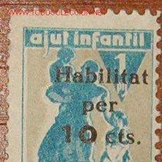 Selos: VIÑETA AJUT INFANTIL DE REREGUARDA, 10 CTS.. Lote 12476766