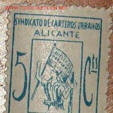 Sellos: VIÑETA SINDICATO DE CARTEROS URBANOS, ALICANTE, PRO MILICIAS POPULARES ANTIFASCISTAS 5 CTS. Lote 13130490