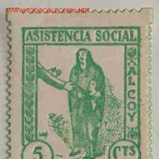 Sellos: VIÑETA ASISTENCIA SOCIAL, ALCOY. Lote 3180881
