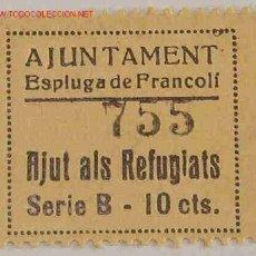Sellos: VIÑETA AJUNTAMENT ESPLUGA DE FRANCOLÍ, AJUDA AL REFUGIAT. Lote 2141754