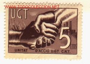 VIÑETA DE LA U.G.T.. UNITAT U.G.T.-C.N.T.. (Sellos - España - Guerra Civil - Viñetas - Usados)