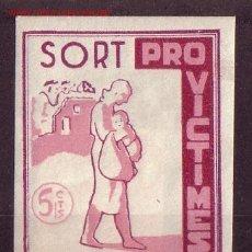 Sellos: SORT G. G. 1250 - AÑO 1937 - PRO VICTIMAS DEL FEIXISME. Lote 23992654