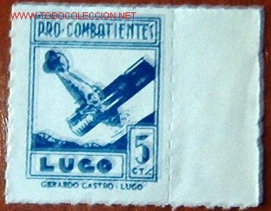 PRO COMBATIENTES LUGO, 5 CTMS (Sellos - España - Guerra Civil - Viñetas - Usados)