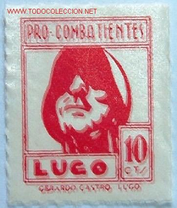 PRO COMBATIENTES LUGO, 10 CTMS (Sellos - España - Guerra Civil - Viñetas - Usados)