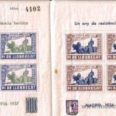 Sellos: UN ANY DE RESISTENCIA, GUERRA CIVIL PI DE LLOBREGAT 1936-37. Lote 22818001