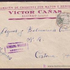 Sellos: ESPAÑA.(CAT. 817).1938.SOBRE DE EL CIEGO (ALAVA) A CESTONA.MARCA DE CENSURA DE LOGROÑO.MUY BONITA.. Lote 24540442