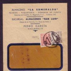 Sellos: ESPAÑA.(CAT.816B,FISCAL 91).1937(15 JUL).SOBRE DE VALLADOLID.FRANQUEO CON FISCAL.CENSURA VALLADOLID.. Lote 27188703
