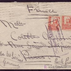 Sellos: ESPAÑA. (CAT. 823 (2)). 1937. SOBRE DE SAN SEBASTIAN A PARIS. REEXPEDIDA. MAT. CENSURA. MAGNÍFICA.. Lote 26858934