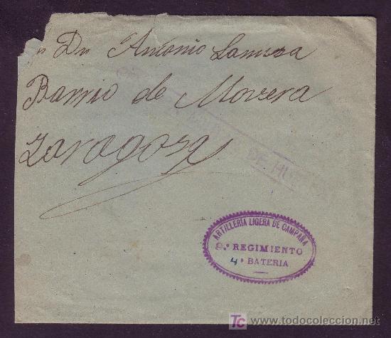 ESPAÑA.1937.SOBRE DE ALERRE (HUESCA) A ZARAGOZA.MARCA CENSURA Y ARTILLERIA LIGERA... MAGNÍFICA. RARA (Sellos - España - Guerra Civil - De 1.936 a 1.939 - Cartas)