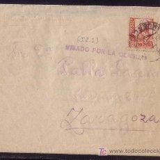 Sellos: ESPAÑA.(CAT. 823). 1938. SOBRE DE JACA (HUESCA) A ZARAGOZA. MARCA * VISADO POR LA CENSURA * DE JACA.. Lote 24951584