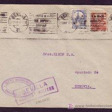 Sellos: ESPAÑA.(CAT. 823, LOCAL 6).1937.SOBRE DE SEVILLA A SEGOVIA.MARCA * SEVILLA/CENSURA MILITAR *.BONITA.. Lote 25276710